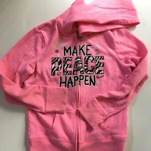 Justice Zip Hoodie Sweatshirt Pink sz 8